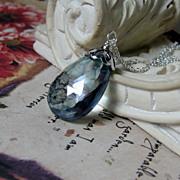 SALE Sale 33Ctw Slate Blue Quartz Sterling Pendant Necklace
