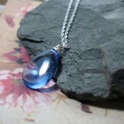 SALE Ocean Blue Quartz Sterling Solitaire Necklace