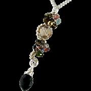 SALE Multi Gemstone Sculptured Pendant, tourmaline,spinel,quartz,citrine,onyx,sterling silver