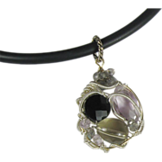 SALE Wire Wrapped Gemstone Pendant, Quartz, Black Spinel, Amethyst, Labradorite
