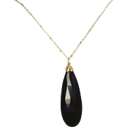 Chalcedony Gemstone Pendant, Elongated, Two Toned Purple, Gold Necklace