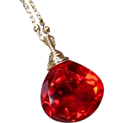 Stunning Red Quartz Gemstone Gold Pendant Necklace