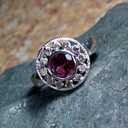 SALE Tourmaline and Diamond Sterling Ring - Size 6
