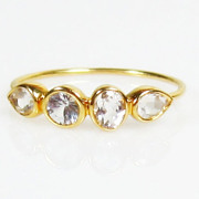 SALE Holiday Sale Size 5.75 Diamond Clear White Topaz 14K Gold Ring