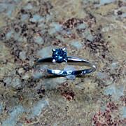 SALE Blue Diamond 14K Gold Ring - Size 7