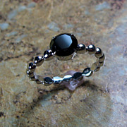 REDUCED Black Spinel Sterling Silver Prong Set Ring - Size 7