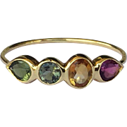 SALE 14K Gold Gemstone Stacking Ring Tourmaline Size 6