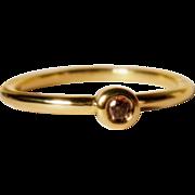 Cognac Diamond 18K Gold Stacking Ring Size 5