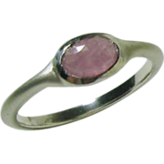 SALE Rose Cut Natural Soft Pink Sapphire Ring in Sterling Silver, bushed matte, Ready to ...