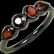 SALE 25% OFF Garnet Gemstone Oxidized Sterling Birthstone Band, Size 6.25