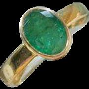 SALE Emerald 14K Ring, Low Profile