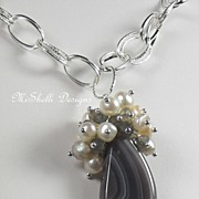 SALE Botswana Agate Labradorite Freshwater Pearl Cluster Sterling Necklace