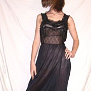 SALE Vintage 1950 Seamprufe Black Nightgown Lots of LACE NWT NEW NOS Size 34
