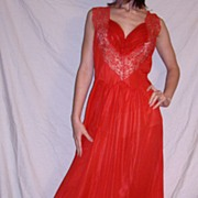 SALE Vintage 1950 Munsingwear Red Long Nightgown New NWT NOS size 36