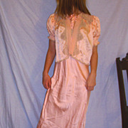 Vintage 1930  Silk Night Gown & Bed Jacket size 16 large