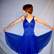 SALE Vintage 1950 Artemis Chiffon Fairy Like Night Gown Royal Blue size 34/36