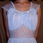 Vintage 1950 Seamprufe Long Sheer  Blue Nightgown NEW NWT NOS Size 34 - 36