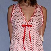 Vintage 1960 Barbizon Seraphim Batiste Red & white Baby Doll Nighty set NEW NWT NOS Size ...