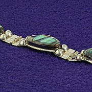 SALE Eagle 2 Vintage Mexico Sterling Silver and Abalone Bracelet Hallmarked LLA