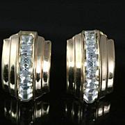 SALE Vintage Sparkling Coro Rhinestone Earrings ~ Clear Channel Set