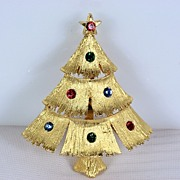 SALE Vintage Signed JJ Christmas Tree Brooch Pin~Book Piece