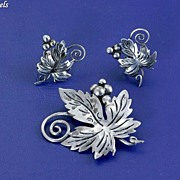 SOLD Vintage Pre Eagle Taxco Mexico Sterling Silver Leaf and Grape Brooch Pin and Earrings Set