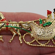 SALE Vintage Christmas Horse and Sleigh Brooch Pin Signed Gerry's