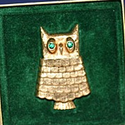 Vintage Avon Owl Locket Brooch Pin with Green Rhinestone Eyes and Glace Perfume-Signed AVON