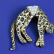 SALE Vintage 1950's Florenza Leopard Brooch Pin with Rhinestones and Articulated Tail