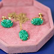 Vintage Van Dell 1/20 12 K Gold Filled Necklace & Screw Back Earring Set Demi Parure ~Carved G