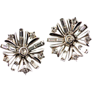 Rare Silver Tone1949 Alfred Phillipe Trifari Rhinestone Snowflake Earrings