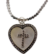Sterling Heart Locket Pendant with Mother of Pearl and Marcasite Religious Cross and Chain Nec