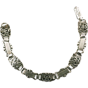 Sterling Craft by Coro World War 2 Era Sweetheart Bracelet with US Army Insignia and Hearts