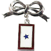 SOLD WW2 Era Sterling Silver and Enamel Son in Service Pendant and Sterling Silver Bow Pin