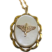 SALE WW2 Era US Army Air Corps Military Sweetheart Gold Filled Mother of Pearl Locket ...