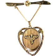 1940's WW2 Era Army Air Corps AAC Military Sweetheart Gold Filled Propeller Pin and Locket .