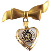 Petite Gold Filled and Mother of Pearl Heart Locket and Bow Pin with US Navy ...