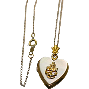 WW 2 Era Sweetheart USN US Navy Anchor Insignia Gold Filled Mother of Pearl Heart ...