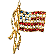 Vintage Patriotic Waving Rafaelian Rhinestone US Flag Brooch Pin