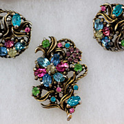 SALE Lovely Hollycraft Pastel Rhinestone Demi Parure ~ Floral Brooch and Earrings