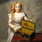 Small But Elegant Box for Doll Display - Brass, Leather and Velvet