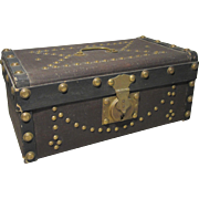 Small Antique Doll Trunk Decorated with Brass Tacks