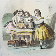 Lithographic Print, French, 'Little Girls Playing With Their French Fashion Dolls', Antique