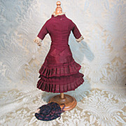 Period Original Wool Dress With Hat for French Fashion