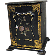 Miniature Black Lacquer Chinoiserie Chest of Drawers for Antique Doll Display