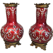 Stunning Pair of Miniature Enamel Over Copper Vases