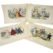 Four Original Colored Prints From La Poupee Modele - 1864 - 68