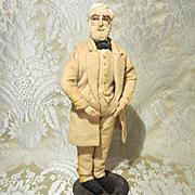 Vintage Needle Sculpted Cloth Doll - Portrait of Robert E. Lee - All Original