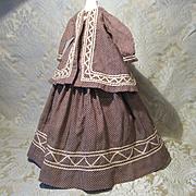Circa 1860's Period Costume for French Fashion - Cotton - 2 Piece