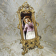 Ornate Miniature Standing Cheval Mirror for French Fashion Display